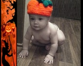 Sweet Pumpkin Beanie with Two Leaves and Curly Cue for Newborn