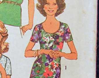 Simplicity 6975 Pull Over Top Shirt - Simple to Sew - Sewing Pattern - Size 14 - Vintage 1975
