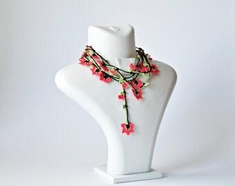 Crochet Necklace, Oya Beaded Necklace, Boho Wrap Necklace, Dark Pink Lariat, Fuchsia Flower Jewelry, Turkish Oya Necklace, Women's Gift