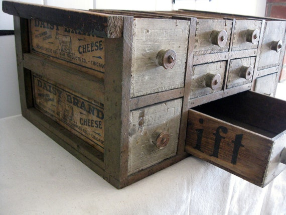 Antique Cheese Box Cabinet Handmade Storage By
