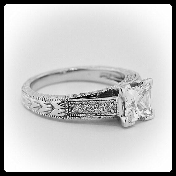 Princess Cut Engagement Ring Diamond Side Stones 14k Gold