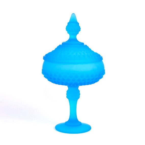 RESERVED for LAURA Satin Blue Glass Candy Dish - Lidded Pedestal Compote, Frosted Diamond Point Style by Indiana Glass