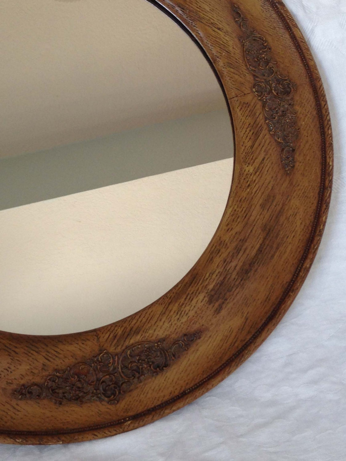 17 inch vintage round wood framed mirror with appliqu d Round framed mirror