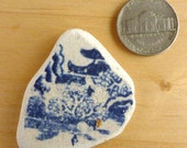 Blue and White Willow pattern BEACH SEA POTTERY  Shard Antique Scottish