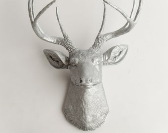 Silver Deer Head Wall Decor - The Hesher - Silver Resin Deer Head- Stag Resin by White Faux Taxidermy- Chic Animal Mount
