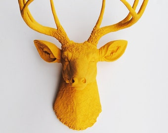Fake Deer Head - The Victoria - Mustard Yellow Resin Deer Head Mount - Stag Resin Mustard Yellow Faux Taxidermy- Chic Decor Fauxidermy