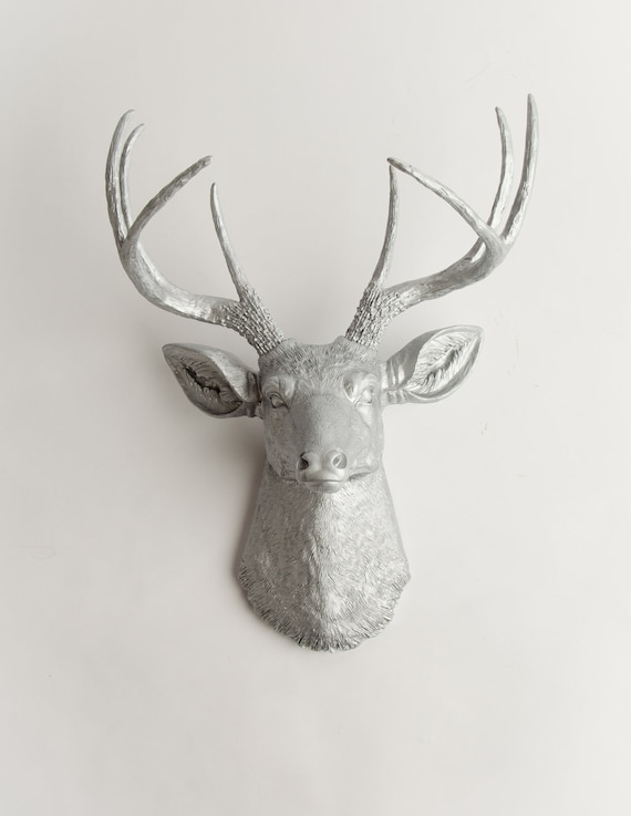 Silver deer head wall decor the hesher silver resin deer - Silver stag head wall mount ...