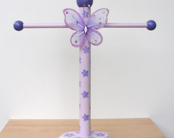 Purple Butterfly Necklace Stand