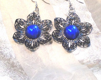 Upcycled Vintage Earrings With Antique Swarovski Cabochons Black & Blue Flowers or Stars