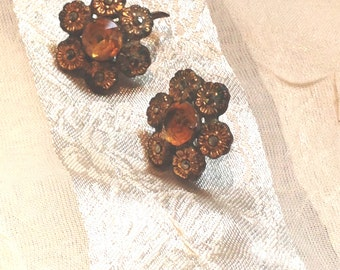 Antique Screw Back Earrings Gold Flowers With Patina Estate Jewelry 1910s