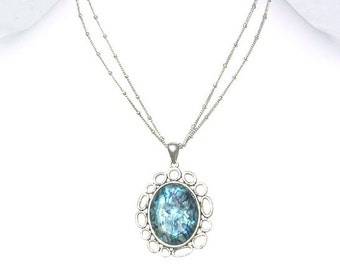 Filigree Oval Robin Egg Shades of Blue Double Chain Necklace