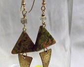 Unichite and Gold Triangles Earrings (E1098)