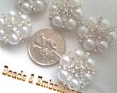 5 Handmade flower pearl rhinestone beads embellishments