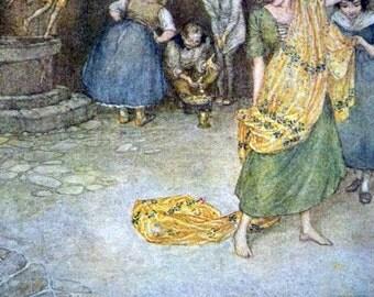1910s GYPSY PRE-RAPHAELITE Color Print