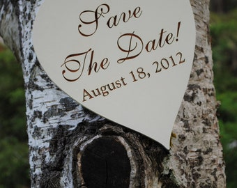 """Engagement Sign """"Save The Date"""" Heart Shaped, Handmade & Laser Etched."""