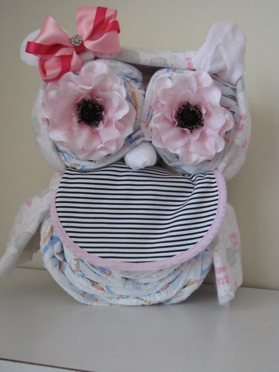Reserved For Kelsey Girls Owl Diaper Cake