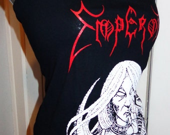 Emperor ladies DIY reconstructed black heavy metal band shirt into a flattering womens halter top. Avail in many sizes.