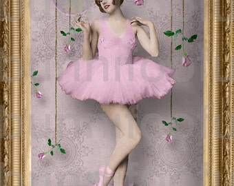 dreaming with your feet. - vintage ballerina, altered art, journaling, scrapbooking