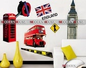 PEEL and STICK Removable Vinyl Kids Wall Decal Wall Sticker - London Big Ben, Phone Booth, Double Deck Bus, England Flag (Olympic 2012)