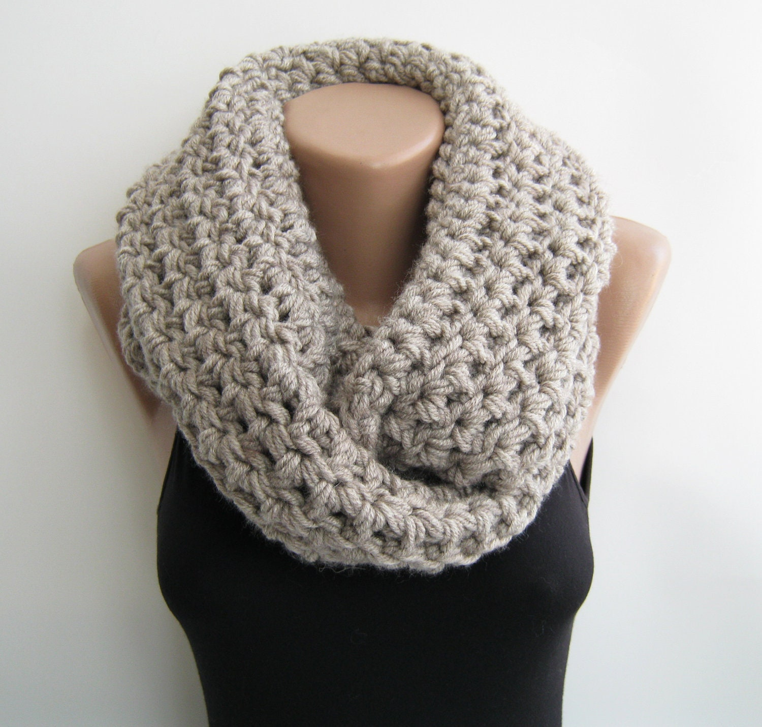Crochet infinity scarf oat meal chunky circle by sascarves on Etsy