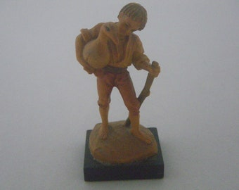 ANRI Italy Handcarved Wooden Figurine Of Young Boy Carrying A Goose By Ulrich Bernardi