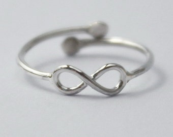 Sterling Silver Knuckle/Pinky/Kids/Toe Ring, 925 Adjustable Ring w. tiny Infinity knot sign and open back. Christmas stocking/gift.