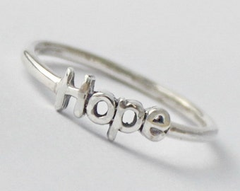 Sterling silver Hope Ring, 925 stacking ring with Inspiring word, Statement ring, Obama