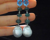 """2.25"""" Long Dangle Earrings 17mm Pearls, Emeralds, Topaz and 18k White Gold Contemporary"""