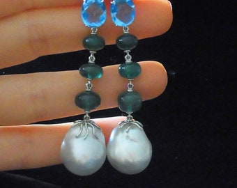 "2.25"" Long Dangle Earrings 17mm Pearls, Emeralds, Topaz and 18k White Gold Contemporary"