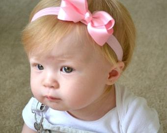 Pink baby headband, bow headband, newborn headband, infant headbands, pink hair bow, baby hair bow, toddler hair bow, pink headband