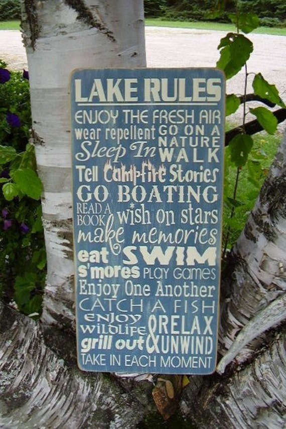 Wood Sign, Lake Rules , Lake, Family, Lake House, Handmade, Personalized, Word Art, Handmade