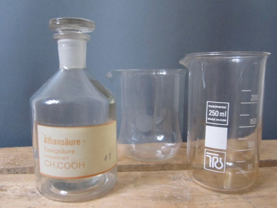 Vintage glass science equipment- beakers, made in the GDR, set of 3