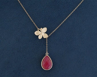 Ruby Necklace with Blossom - Ruby Stone with Flower Lariat  - Gold Filled Chain - July Birthstone - Bridesmaid Jewelry