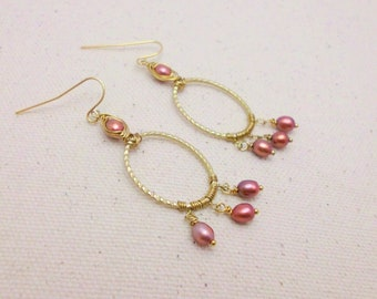 Handmade Copper and Brass Freshwater Pearl Wire Wrapped Earrings