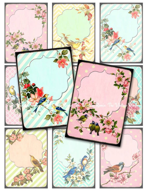 INSTANT DOWNLOAD, Digital Collage Sheet, Retro Vintage Birds and Flowers, Printables for Labels, Price Tags, Name Tags, Jewelry Holders