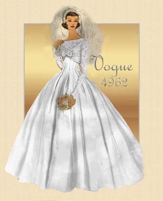 1950s Wedding Gown Pattern Vogue Special Design 4962