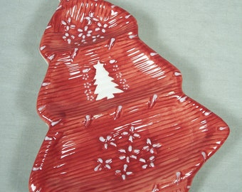 Christmas Spoon Rest Plate Dish Tree Spoons Red Holiday