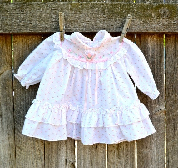 Vintage Baby Dress Flower Long Sleeve Size 3 to 6 Months SALE
