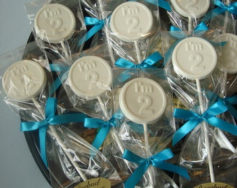"""12 Vanilla White Chocolate """" I'm 2 """" Two Year Old Birthday Lollipop Party Favors"""