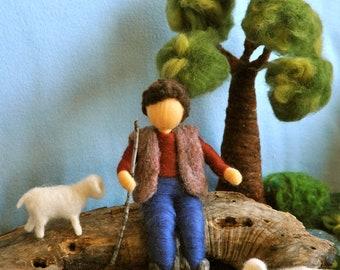 Needle Felted Waldorf inspired Standing Doll : The shepherd (boy with sheep)