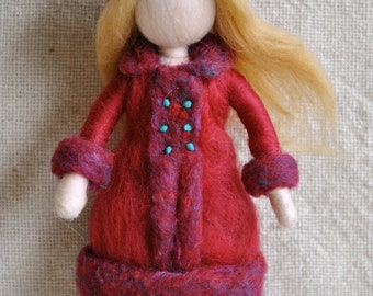 Waldorf inspired needle felted doll :  The girl in the red coat