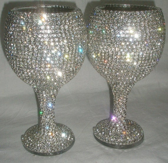 Custom designed handmade pair of wine glass, wedding, bride, groom, Swarovski, Czech rhinestones by Arzu's Style