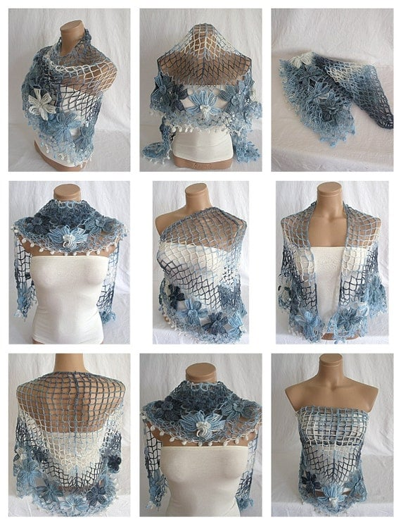 Crocheted blue, white, navy blue triangle Shawl, Scarf, Warmer, Wool by Arzu's Style