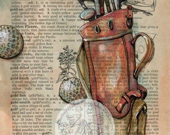 PRINT:  Golf Mixed Media Drawing on Distressed, Dictionary Page