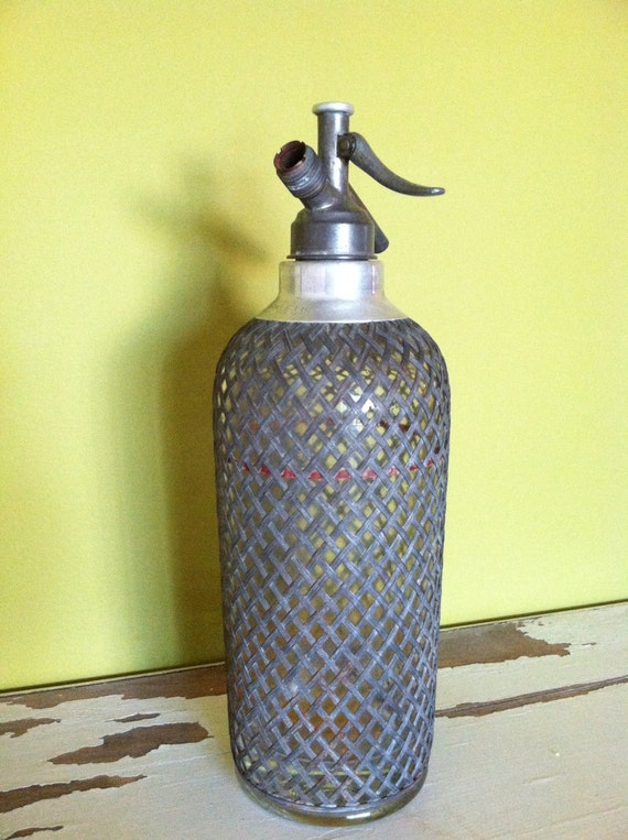Vintage Art Deco Seltzer Bottle Sparklets Metal Wire Mesh with Red Stripe