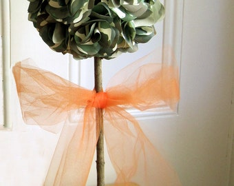 Camouflage Topiary Centerpiece  with Hot Pink or Hunter Orange Tulle Bow  Can be Personalized  and Customized for your Special Occasion