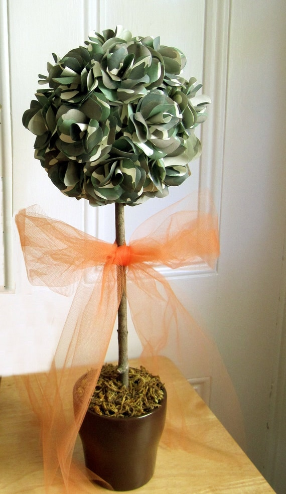 Camouflage topiary centerpiece with hot pink or hunter orange