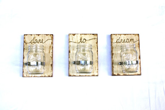 3 CUSTOM Mason Jar Wall Vases or Sconces - Choose your own word for each vase - Personalized and Unique gifts.  Dress each vase seasonally