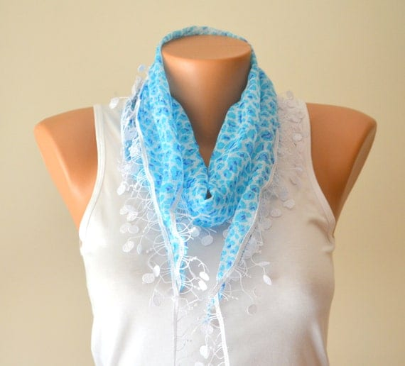 Blue floral cotton scarf headband necklace cowl with lace edge women scarves summer fashion summer scarves birthday gifts mother's day gifts