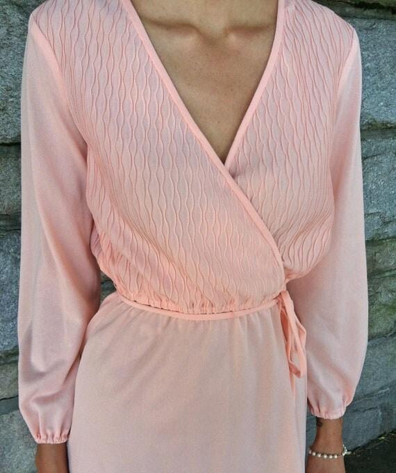 Pink Vintage Dress, Sheer Feminine Dress, Womens Clothing, Long Sleeved, Medium